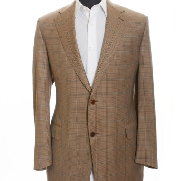 Canali Brown Check Wool Blazer 48R